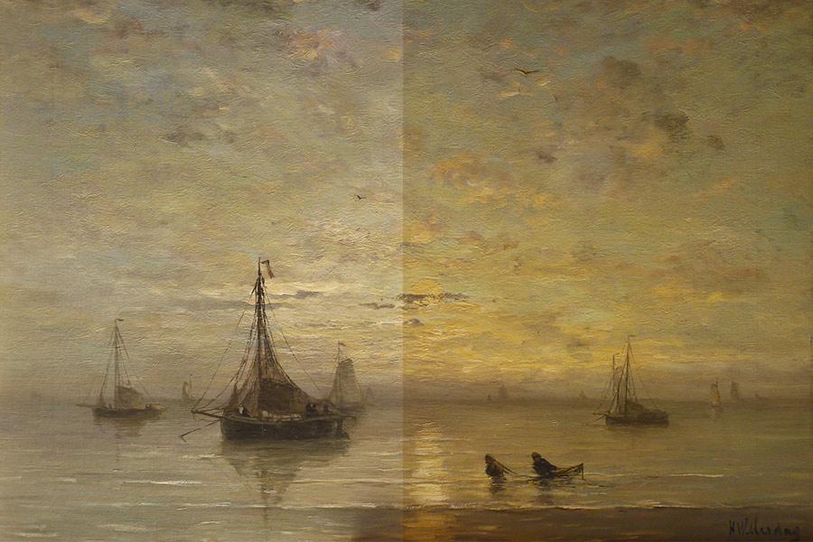 Schilderij voor en na restauratie